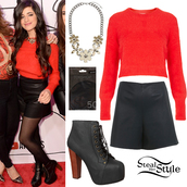 red carpet,red sweater,red,sweater,camila cabello,Fifth Harmony,camila cabello outfit,camila cabello inspired,leather shorts,High waisted shorts