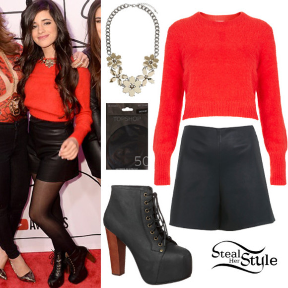 red red carpet red carpet outfit Camila Cabello Fifth Harmony red sweater sweater