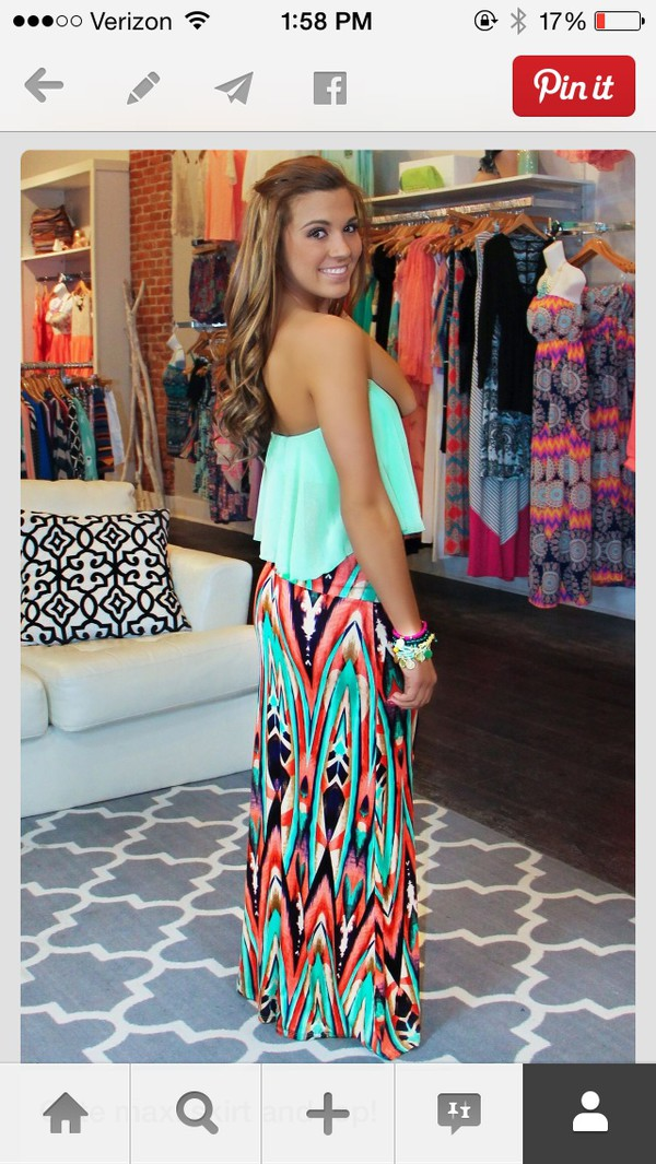 skirt maxi skirt bright lovely pinterest tank top