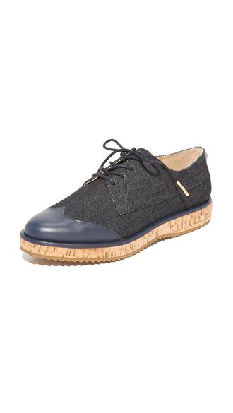 denim dark oxfords shoes