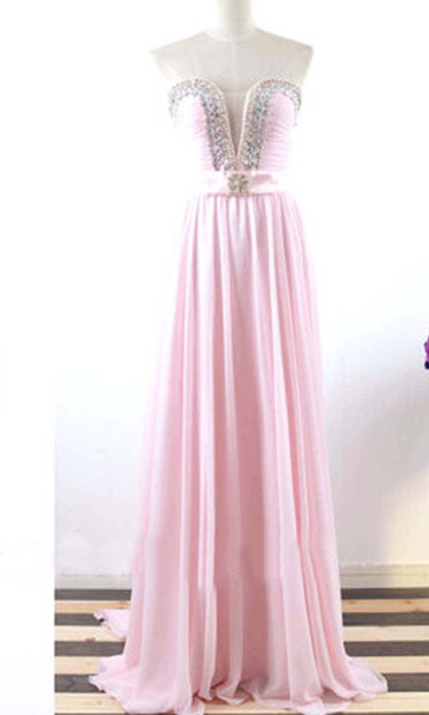 Crystal Sheer Plunge Long Pink Prom Dresses KSP367 [KSP367] - £98.00 ...
