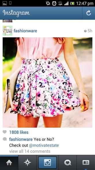 skirt floral pink cute multicolor short floral pink