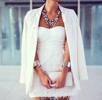 jacket dress white bag jewels blazer diamonds style tan feathers white feathers