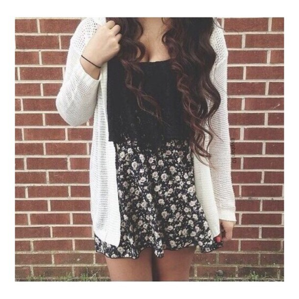 ed4782f18 skirt flowers black white floral flower print skater skirt cardigan knitted  cardigan shirt blouse