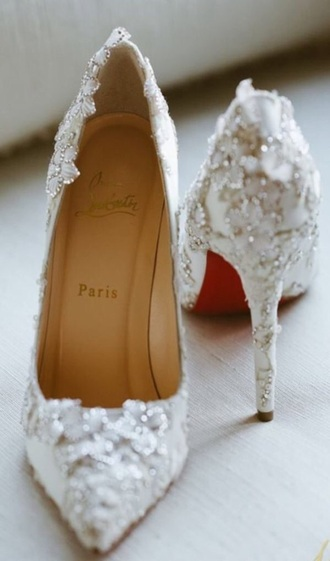 shoes louboutin white wedding shoes high heel pumps