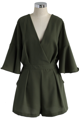 jumpsuit romper dark green wrap