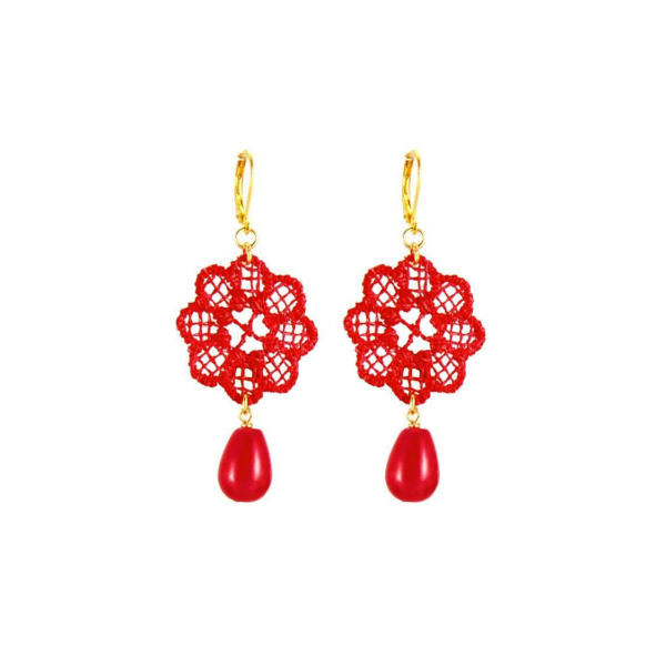 Daisy red lace earrings | Tita' Bijoux