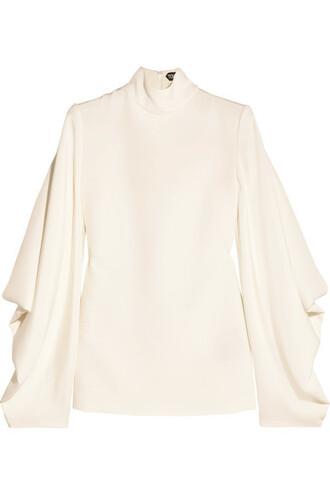 top back open white silk