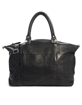 ASOS | ASOS Leather Holdall With Panel Detail at ASOS