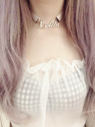 jewels lolita necklace pastel kawaii cute gingham