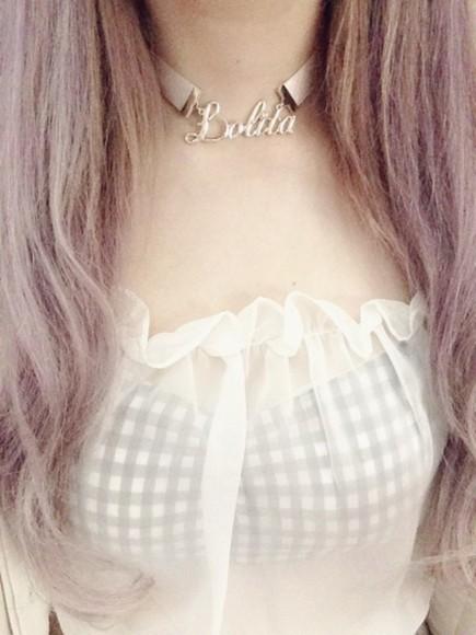 vichy jewels necklace lolita pastel kawaii cute