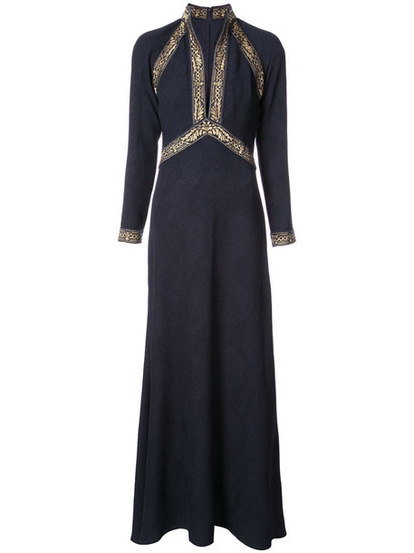 Tadashi Shoji dress embroidered women spandex blue