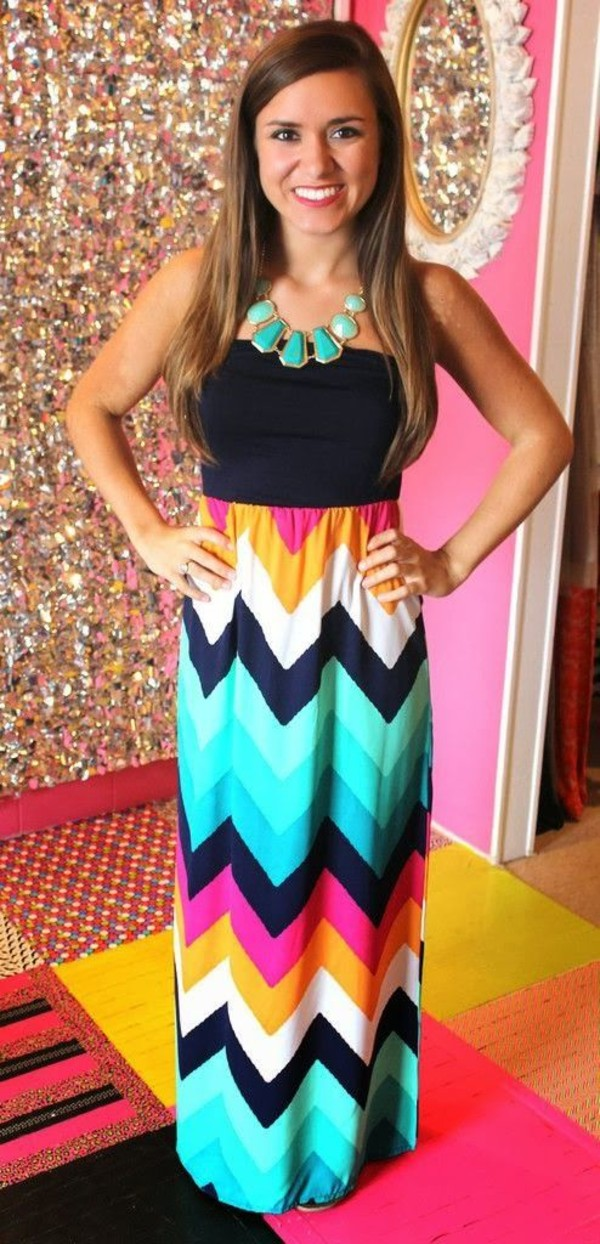 dress colorful colorful aztec zigzag neon summer pink yellow orange drakblue white stripes party maxi dress summer dress