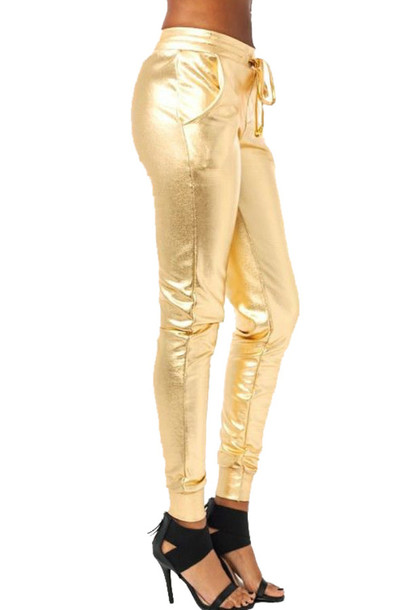 pants gold drawstring sweatpants sweatpants