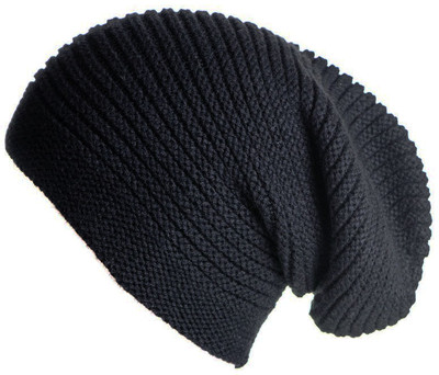 Black Cashmere Slouch Beanie Hat - Polyvore