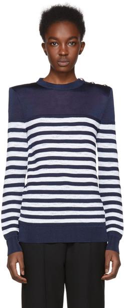 Balmain sweater striped sweater navy white