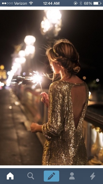 dress gold sequins holiday dress backless dress new year's eve
