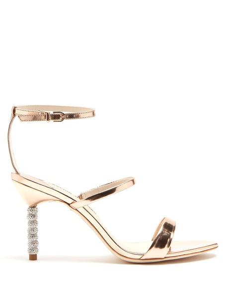 Sophia Webster heel embellished sandals leather sandals leather rose gold rose gold shoes