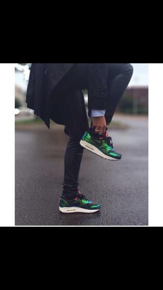 metallic shoes nike green sneakers