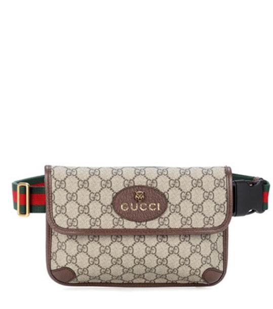 Gucci Leather-trimmed belt bag in brown