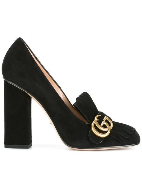 gucci women pumps leather suede black shoes
