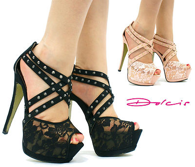 V96 LADIES DOLCIS STILETTO LACE STUDS HIGH HEELS PLATFORM PEEP TOE STRAPPY SHOES
