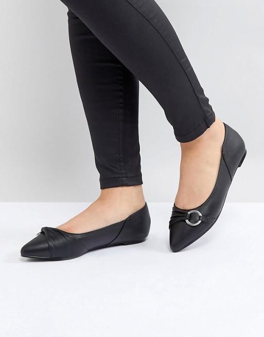 Lost Ink Black Loop Detail Flat Shoes at asos.com