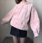 sweater,stuffed animal,girly,pink,fur,fur jacket,oversized sweater,oversized,comfy,cute,tumblr