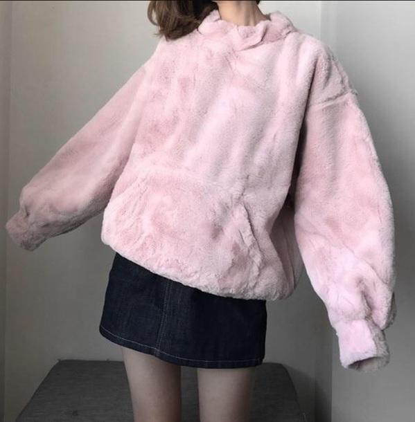 sweater stuffed animal girly pink fur fur jacket oversized sweater oversized comfy cute tumblr