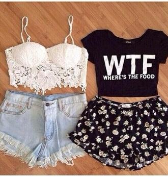 tank top wtf wheres the food shirt black tank top white crop tops shorts flower shorts