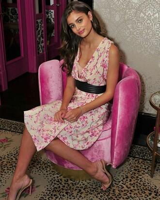 dress taylor hill model floral dress summer dress sleeveless dress wrap dress v neck sandals sandal heels high heel sandals nude sandals