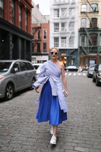 shoes tumblr sneakers nike nike shoes nike cortez skirt midi skirt blue skirt shirt blue shirt