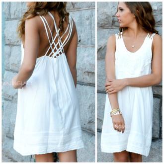 dress ivory dress summer dress criss cross straps lace details lace dress dainty feminine southern charm