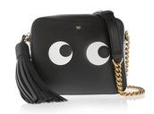 bag,chain bag,black bag,leather bag,black leather bag,anya hindmarch,designer bag,tassel,eyes
