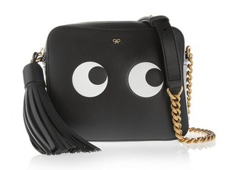 bag chain bag black bag leather bag black leather bag anya hindmarch designer bag tassel eyes