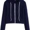 Navy zip up pocket hooded sweatshirt -shein(sheinside)