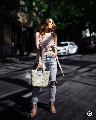 jeans tumblr denim blue jeans ripped jeans top crop tops asymmetrical asymmetrical top bag woven bag high heels heels mules shoes