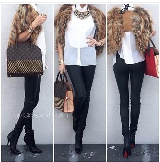 bag purse satchel bag high heels black heels faux fur vest vest fashion shirt style jewels accessories top