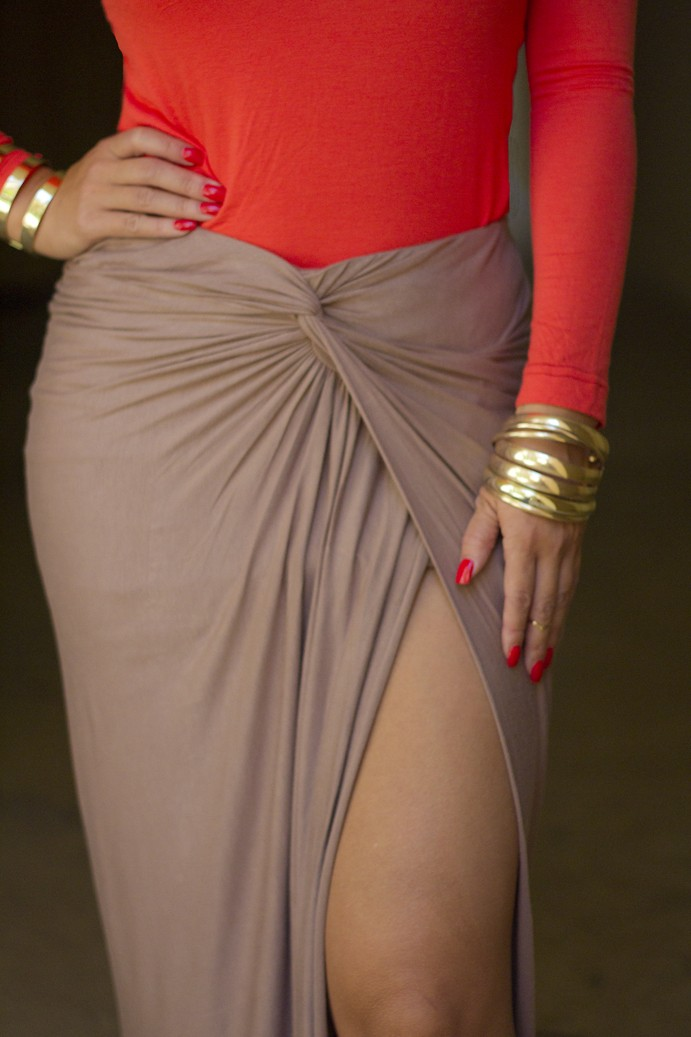 Taupe Knot Drape Maxi Skirt