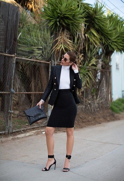 blogger sandals bodycon skirt black skirt crocodile pouch blazer office outfits