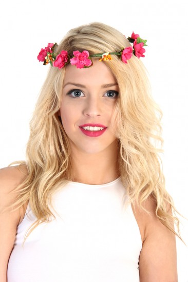 LoveMelrose.com From Harry & Molly | Flower Crown Headband - Pink