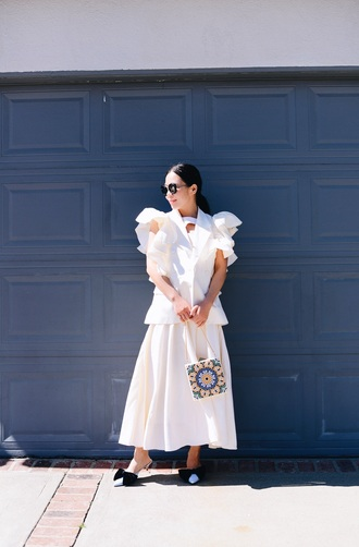 hallie daily blogger jacket dress sunglasses bag shoes ruffled jacket white jacket midi dress