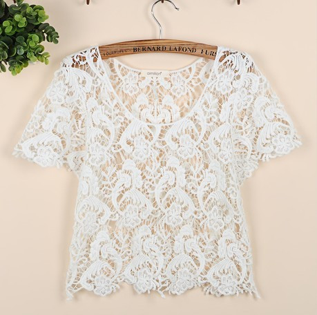 Tp50 new celebrity style women's bohemian vintage lace paisley floral crop tees tops t shirt shirts free shipping