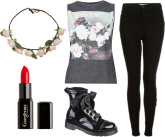 shirt grunge hipster jeans shoes jewels muscle tee flower crown top tank top floral floral shirt black black jeans flowers pink flowers make-up lipstick red lipstick boots black boots outfit tumblr tumblr fashion tumblr girl
