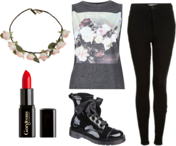 shirt grunge hipster jeans shoes jewels muscle tee flower crown top tank top floral floral shirt black black jeans flowers pink flowers make-up lipstick red lipstick boots black boots grunge outfit tumblr tumblr fashion tumblr girl tumblr