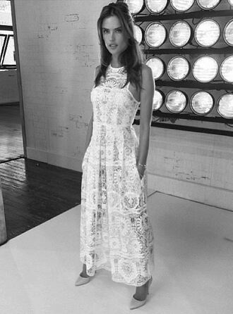 dress lace alessandra ambrosio white dress white white lace dress