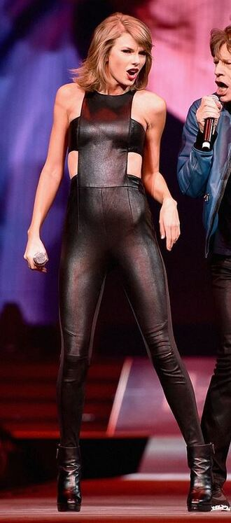 jumpsuit taylor swift black all black everything leather