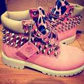 shoes,timberlands,boots,studded shoes,cute,women,studded,leopard print,pink,boots with spikes and cheetah print,girl pink spiked timberland boots,timberland boots,timberland,spikes,leaopard,timberlands pink