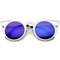 Neo silver frame blue mirror lens cat eye sunglasses at flyjane