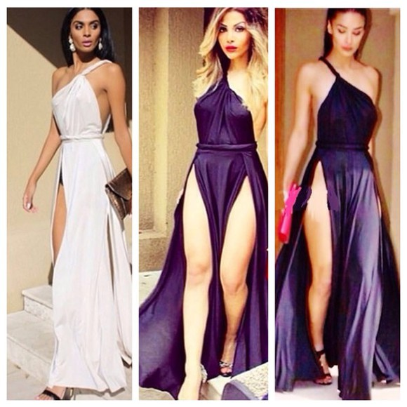 dress bag girl heels black slit dress split sexy dress long dress one shoulder white white dress black dress sexy sexy dress legs party party dress Open back dress strappy dress clutch classy